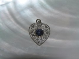 Vintage 925 Marked Silver Openwork Heart with Lapis Lazuli Stone Pendan... - $12.19