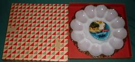 Vtg Anchor Hocking Deviled Egg Tray Plate 22K Gold Trim + Box Label Anchorglass - $13.99