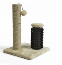 Cat Tree Claw Scratching Post with Brush Natural Impulse to Sharpen & Co... - £34.44 GBP