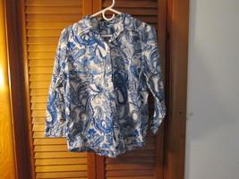 Womens Longsleeve Blouse Large Chaps Blue/White Paisley TF135/ALS Lks - $10.88