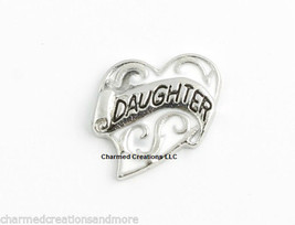 Daughter Heart Love White & Silver Tone Floating Charm For Glass Memory Lockets - $2.95