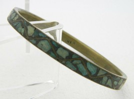 "VTG INDIA Gold Tone Brass Stone Bangle Bracelet 1/4"" Wide - $19.80"