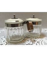 Vintage Clear Pressed Glass Jelly/Jam Jars with Attached Handle and Lids - $14.00