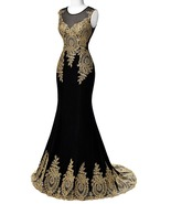 Vintage Gold Lace Prom Dress 2019 Plus Size Black Tulle Formal Evening G... - $95.00