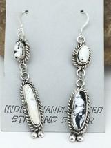 "Navajo White Buffalo Turquoise Sterling Silver Dangle Earrings 2.5"" 1259 - $257.00"