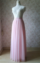 LIGHT PINK Full Length Tulle Skirt Plus Size High Waist Pink Tulle Skirt image 2