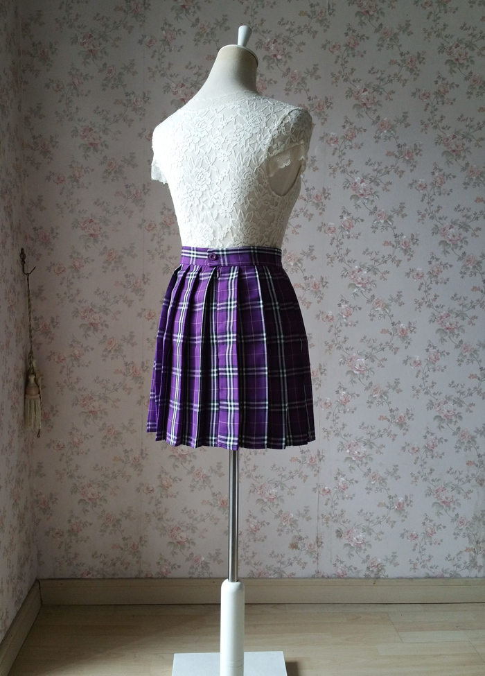 Plaid skirt purple 4