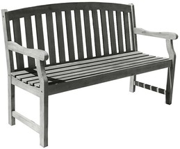 Vifah Outdoor Benches Hand-Scraped Acacia Arched Slat-Back Weather Resis... - $182.31