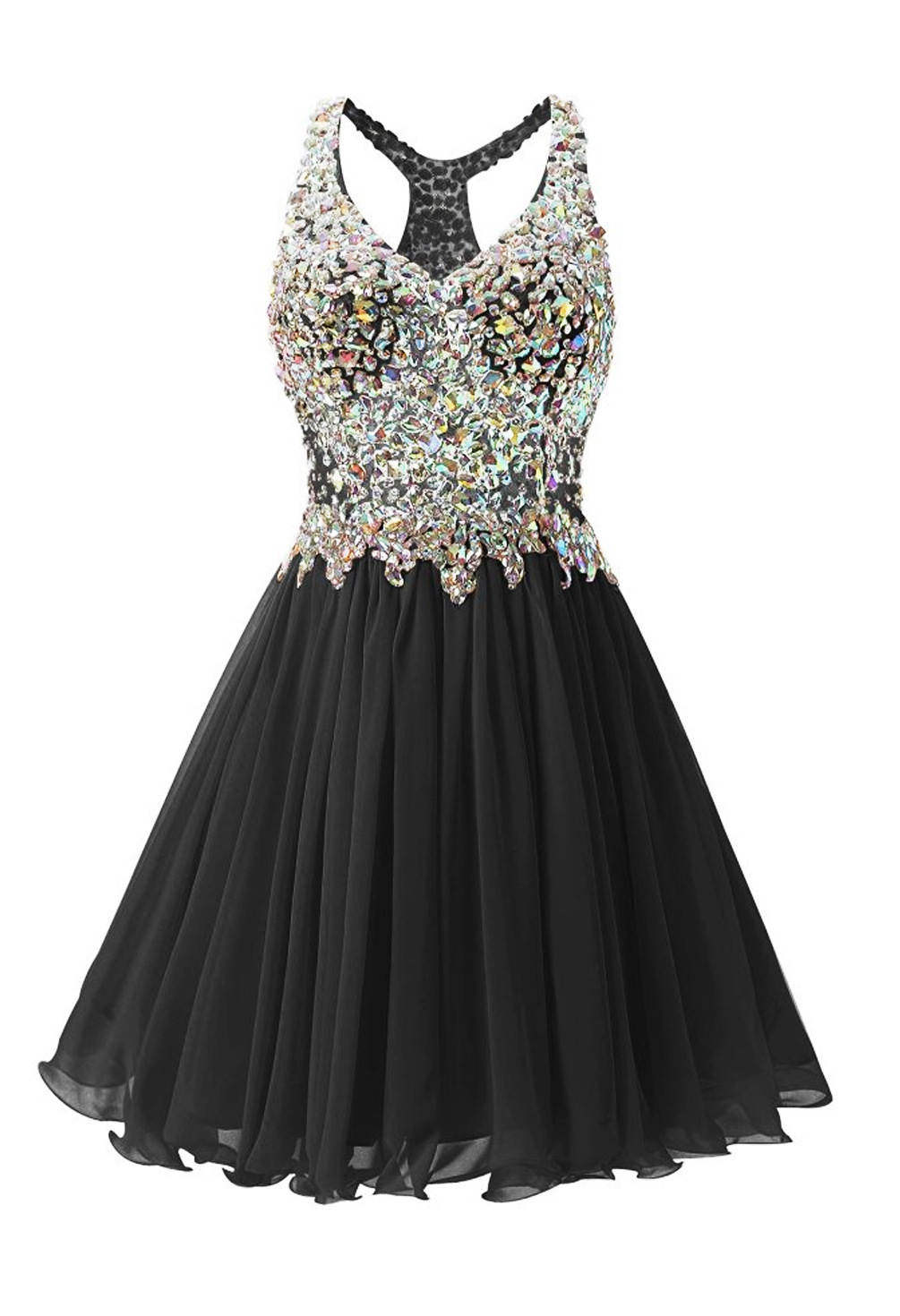 Women's Beading A Line Homecoming Dress Chiffon V-Neck Short Formal Prom Gowns