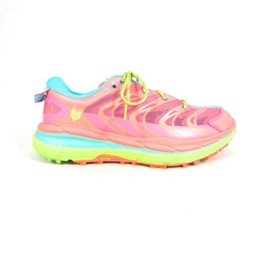 Primary image for 8 - HOKA ONE Aqua & Neon Coral $130 SPEEDGOAT Running Shoes w/ Box NEW 4427SC