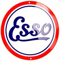 "Esso Oil Retro Gasoline Logo Embossed Metal 12"" Circle Sign - $9.95"