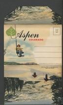 Linen Cover Aspen Colorado 18 pic postcard folder Curt Teich - $12.50