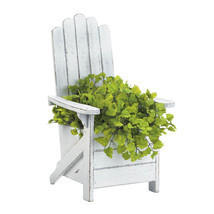 Planter Boxes, Contemporary Outdoor Planters, Decorative White Chair Pla... - $50.00 CAD