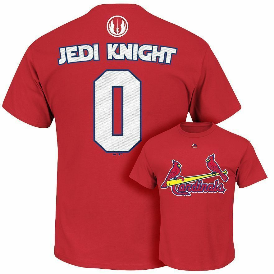 St Louis Cardinals Star Wars Jedi Baseball MLB Jersey Shirt Mens Majestic LARGE