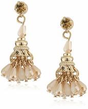 Leslie Danzis Gold Plated Mini Pink Crystal Beaded Chandelier Tassel Earrings