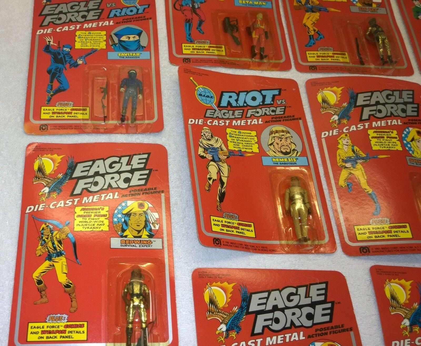 Vintage 1981 Mego Eagle Force Full 18 figure Set MOC Diecast Metal Rare Redwing