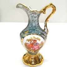 """Vintage Limoges France Vase Blue Pitcher Hand Painted Gold Gilt Trim 5 1/2"""" Tall - $130.44"""