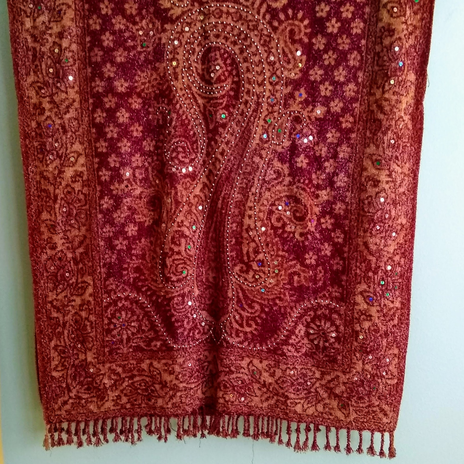 Primary image for Fuzzy Red & Orange Shawl/Wrap