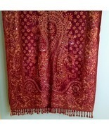 Fuzzy Red & Orange Shawl/Wrap - £15.27 GBP