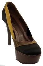 MARNI Platform Pump Satin Leather SCARPA Black Olive Brown Heel Shoe Sz 39 - $166.25