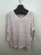 Sonoma Pink Tan White Thin V Neck Knit Sweater 1X 16 18 - $8.27