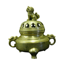Chinese Simple Silver Pewter Color Round Incense Burner Holder cs697-6 - $190.00