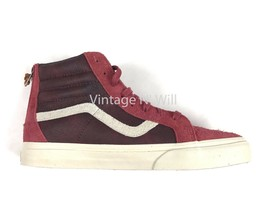 52fd4658e1 Vans Mens 11 Sk8-Hi Zip DX Varsity Burgundy Red Suede Leather Skate Shoe.
