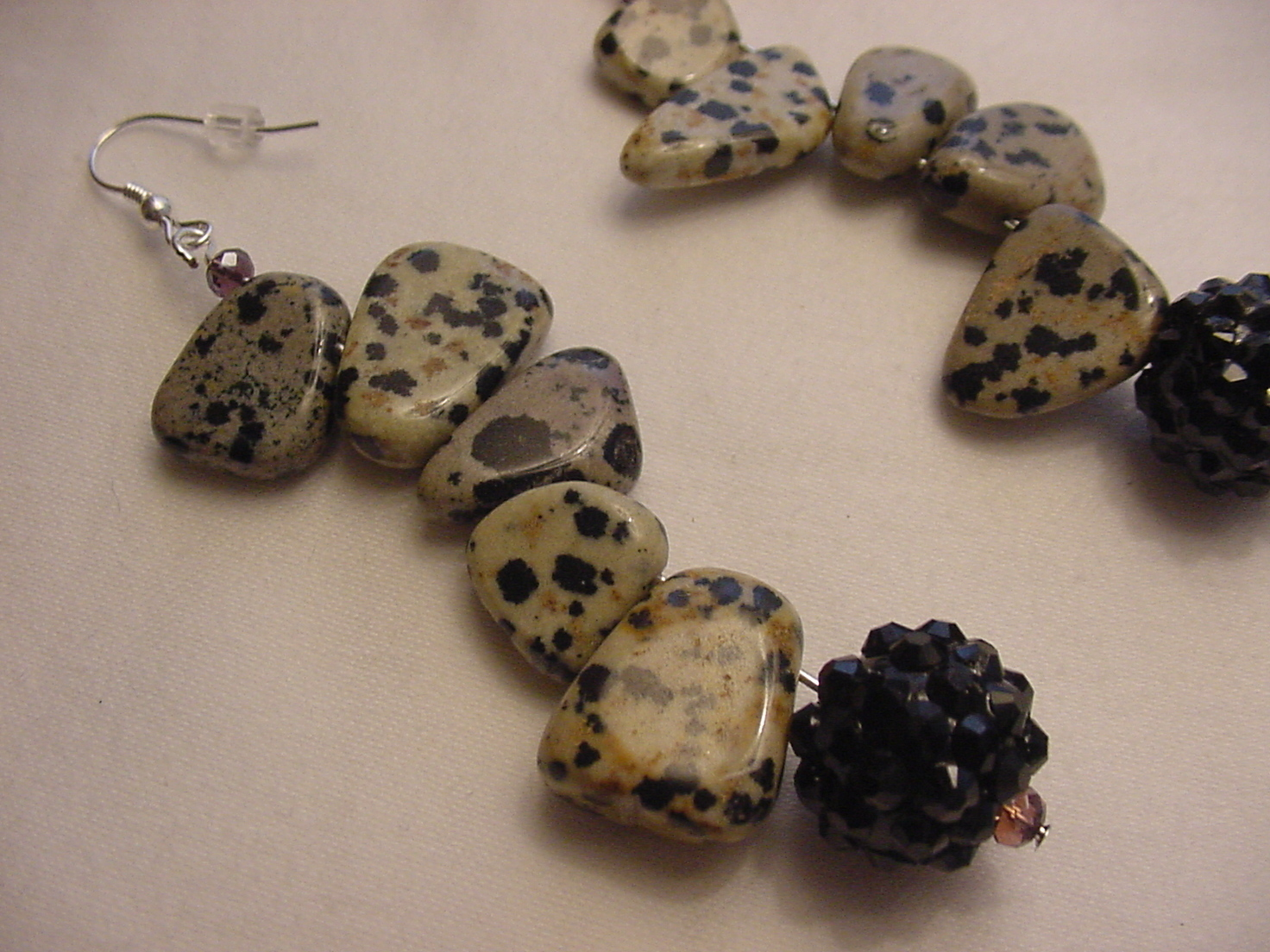 Unique Creations/Ozarks Beige/Black Stepping Stones Drop Earrings