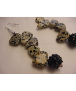 Unique Creations/Ozarks Beige/Black Stepping Stones Drop Earrings - $18.00