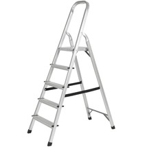 Portable 5 Step Ladder Non Slip Safety Aluminum Folding Platform 300lbs ... - $78.90