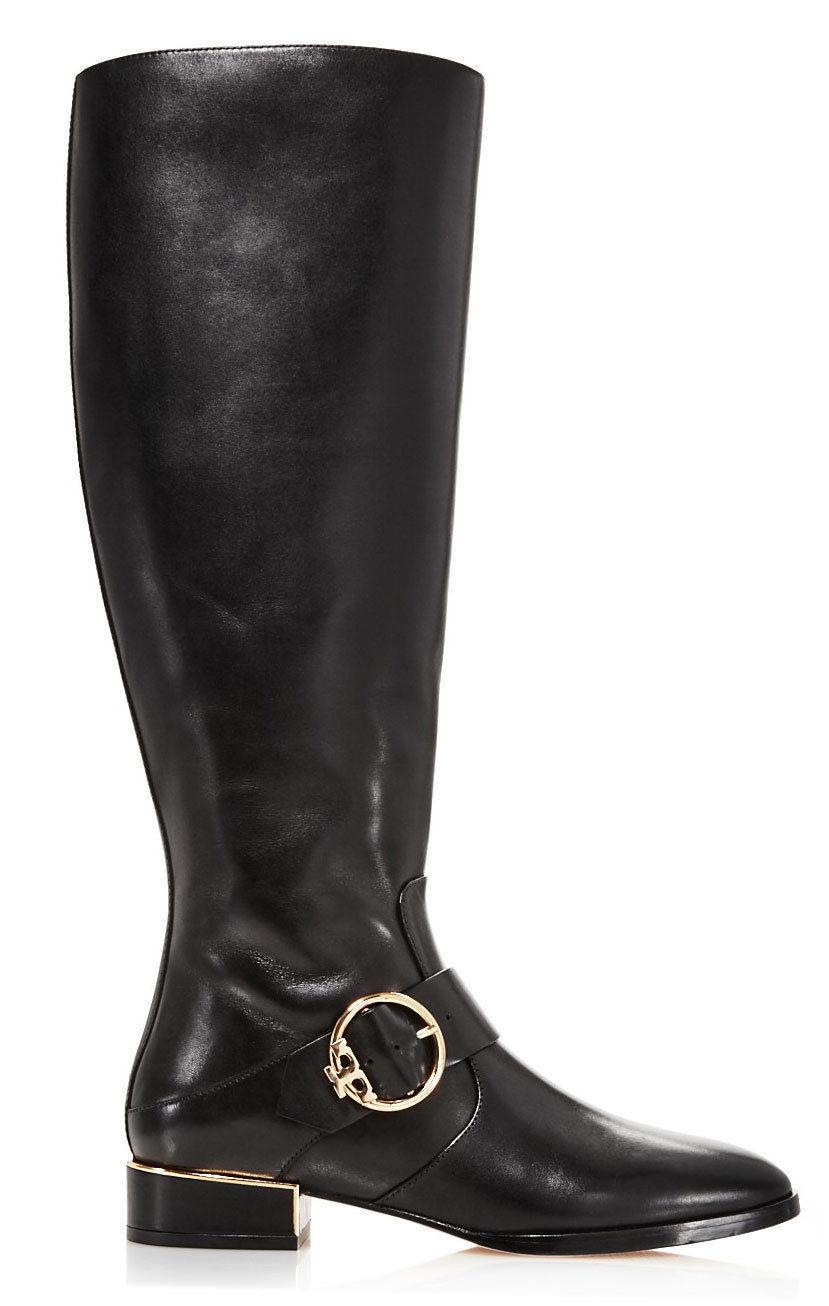 805aa29383749 Tory Burch SOFIA Black Leather Riding Boots Flat Buckled Equestrian Booties  9