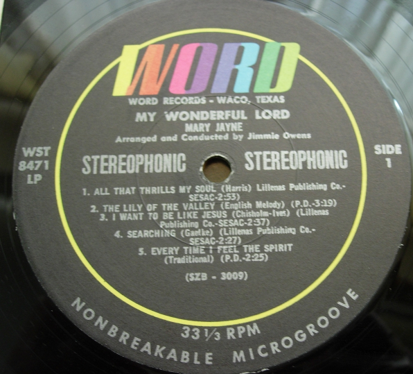 Mary Jayne - My Wonderful Lord - Word Records WST-8471