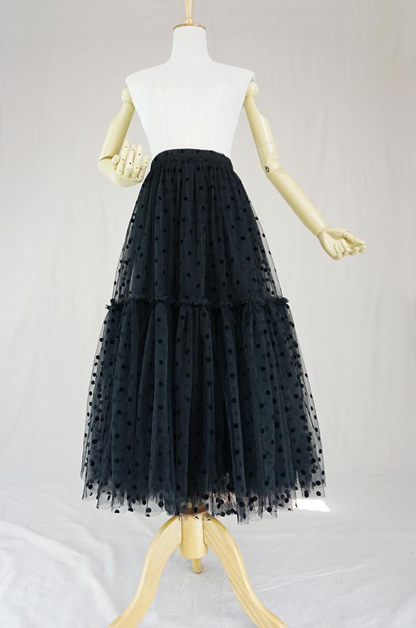 Black dot tulle skirt midi 6