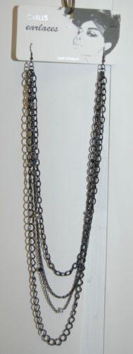 Cyrus Earlaces SNE30097HEM Lead Compliant Black Earlaces Clear Black Beads