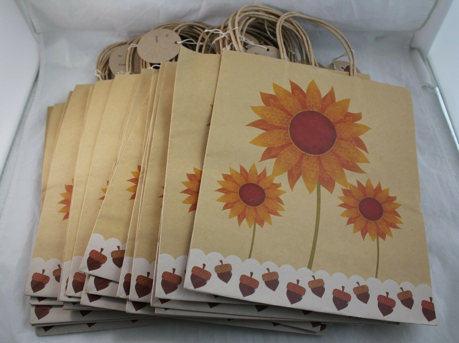 "Primary image for 27 Brown Kraft Gift Party Paper Shopping Bags 12""H x10""W Summer Floral Momentum"