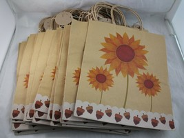 "27 Brown Kraft Gift Party Paper Shopping Bags 12""H x10""W Summer Floral M... - $21.77"