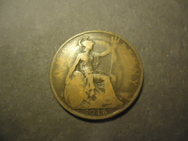 1916 English Large Penny >>Combined Shipping - $1.98