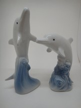Pair of Dolphin Porpoise Jumping Figurines Attractive Blue White Unmarke... - $7.43