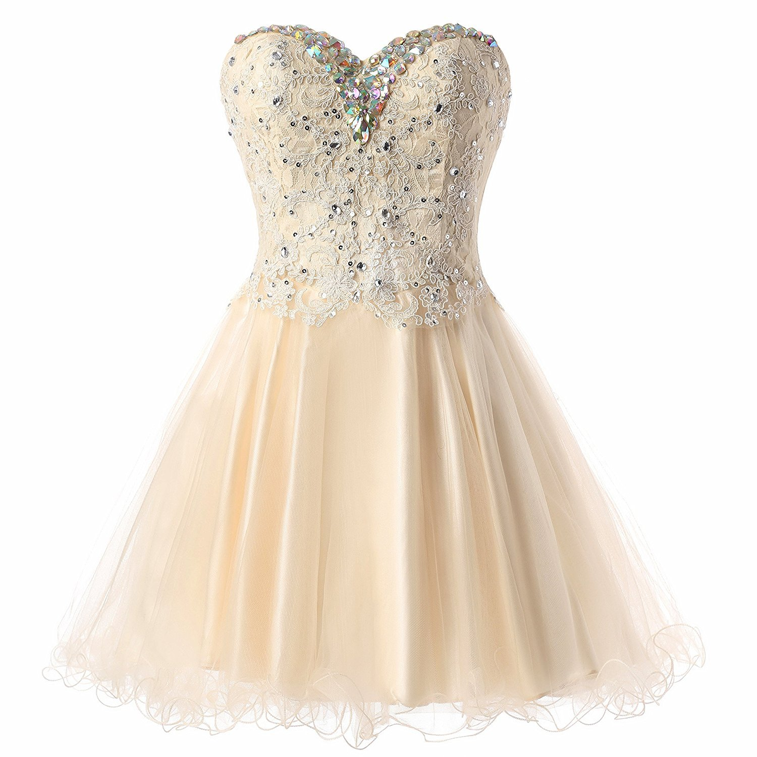 Primary image for Lovely Short A Line Sweetheart Tulle Homecoming Dresses Lace Beading Prom Gown