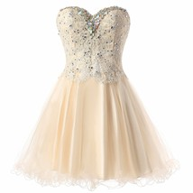 Lovely Short A Line Sweetheart Tulle Homecoming Dresses Lace Beading Pro... - $122.00