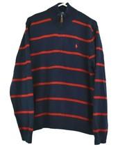 Polo By Ralph Lauren Men's Large 1/4 Zip Sweater Jacket Cotton Stripe Na... - $22.99