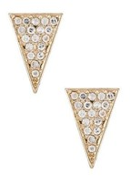 Jules Smith Gold Cubic Zirconia Crystal Pave Elongated Triangle Stud Earrings