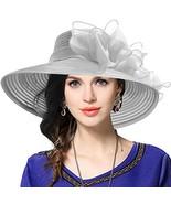 VECRY Womens Dressy Church Baptism Wedding Derby Hat Grey,M56-58cm - $31.74