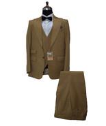 Men Golden Three Piece Suits Designer Party Wear Dinner Wedding Suits - $199.99