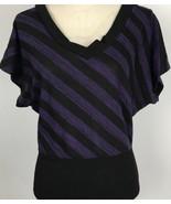 Made For Me 2 Look Amazing Size Medium Purple Black Stripe V Neck Shirt Top - $18.80