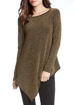 Karen Kane Women's Metallic Knit Asymmetrical Hem Pullover Top Gold $98 ... - $29.69
