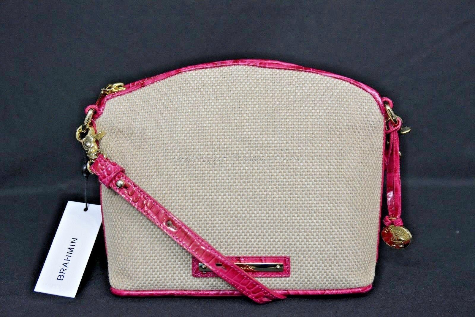 NWT Brahmin Mini Duxbury Shoulder Bag in Punch Harbor, Pink Leather/Beige Fabric