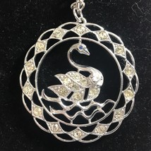 Vintage Signed SARAH COVENTRY Silver-Tone Metal Rhinestone Swan Pendant Necklace - $10.84
