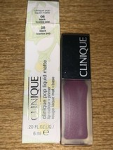 CLINIQUE-POP Liquid MATTE-LIP Colour + PRIMER-08 Black Licorice Pop 20 Oz Nib - $10.87