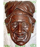 """Old Carved Wood Mask East Indian Man w/Turban-Exquisite Detailing 9"""" X 7... - $111.37"""
